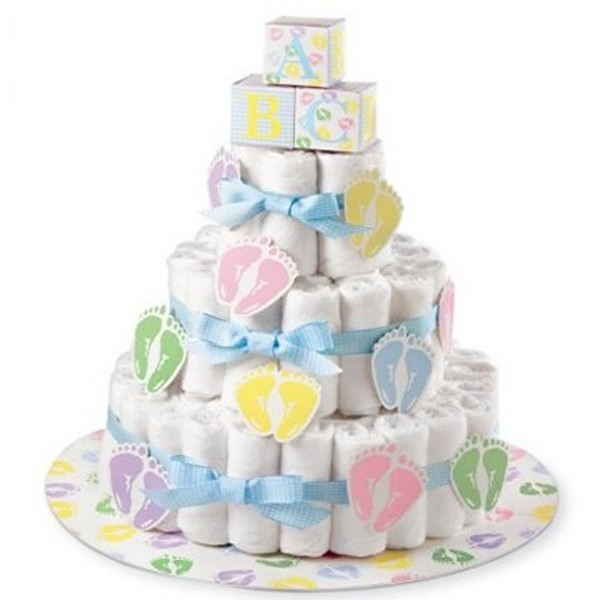 Baby shower centerpiece ideas stones finds for Baby shower diaper decoration ideas