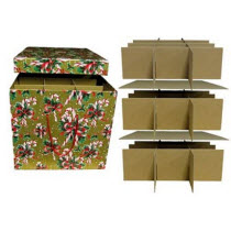 Chipboard candy cane ornament storage box with iders holds 45