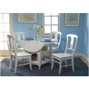 5 piece cottage drop leaf dining set in white - Drop Leaf Round Kitchen Table