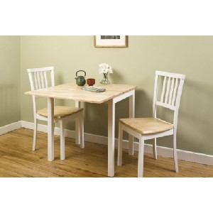 Jackson 3pc White And Natural Dropleaf Small Kitchen Table Set