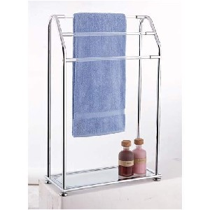 Organize It All Acrylic 3-Bar Towel Rack with Bottom Shelf