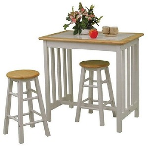 3pc small kitchen table and chairs set with tile top in white natural