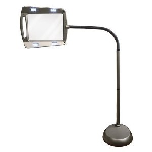 2.5X Lighted Full Page Magnifier with Flexible Neck Floor Stand