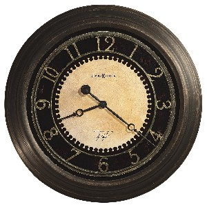 Antique Brass and Black Round Wall Clock