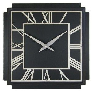 Black Square Wooden Deco Wall Clock