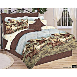 Brown and Blue Wild Horses Bedding