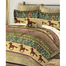 Brown and Gold Horse Bedding in Twin