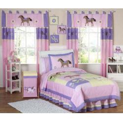 Cotton Purple Pony Bedding Set for Girls
