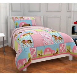 Girls Polka Dot Horse Bedding Set