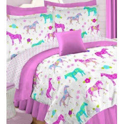 Hot Pink and White Horse Comforter Set