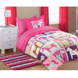 Pink Horse Bedding Comforter Set for Girls