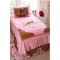 Pink and Brown Horse Bedding Set