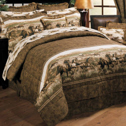 Wild Horses Twin Comforter Set for Girls in Brown and White