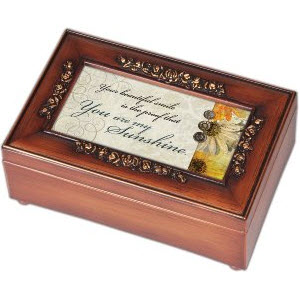 You are My Sunshine Music Box Walnut Finish