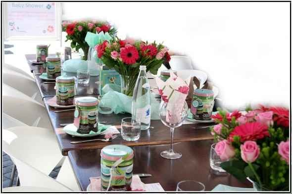 Pink Floral and Blue Tulle Baby Shower Centerpiece