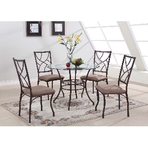 Small Round Glass and Metal Kitchen Table And 4 Chairs