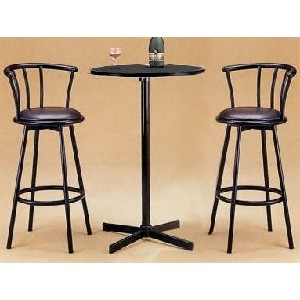 3pc Black Metal Bar Table Set and Chairs