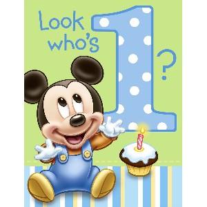 Baby Mickey Birthday Invitations