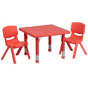 Square Adjustable Red Plastic Activity Table and Chairs Set