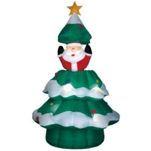 Animated Santa Rising from Inflatable Christmas Tree