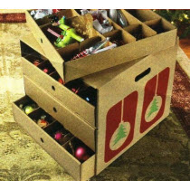 Corrugated Cardboard Ornament Storage Box with Dividers