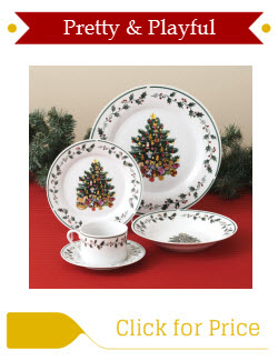 Gibson Christmas Tree Trimmings Plate Set