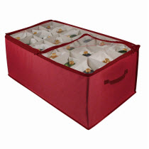 Large Red Ornament Storage Box with Dividers
