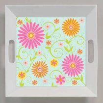 Spring Flowers Plastic Serving Tray 10 inch square with handles