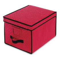 Whitmor Red Christmas Ornament Storage Box with Compartments