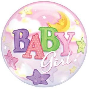 22 Inch Baby Girl Moon & Stars 3D Bubble Balloons
