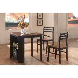 3-Piece Breakfast Table Set in Black Walnut with Shelves