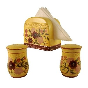 3pc napkin holder garden set