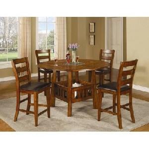 5 Piece Dining Table Set in Dark Oak