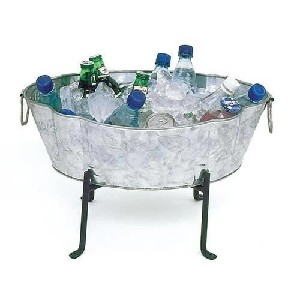achla designs embossed galvanized party tub and stand