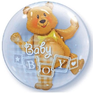 Baby Boy Bear Bubble Balloon 24