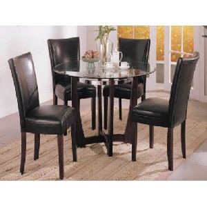 Beveled Glass Top Dining Table with Black-chrome Ring and 4 Chair in Espresso Finish #AD 91058,2122