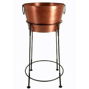 Beverage Tub with Stand in Copper Finish