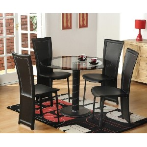 5 PC. Black Vinyl With Glass Top Dining Room Kitchen Table & 4 Chairs