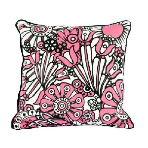 Black White and Pink Mod Flowers Pillow