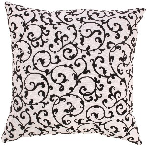 Black and White Flocked Damask Throw Pillow