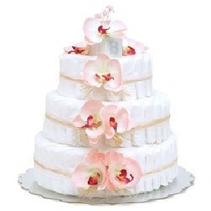 Bloomers Baby Diaper Cake Pink Orchids