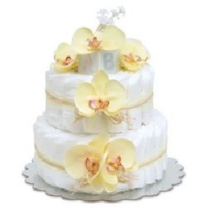 Bloomers Baby Diaper Cake Yellow Orchids