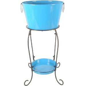 Blue Beverage Tub with Stand and Tray