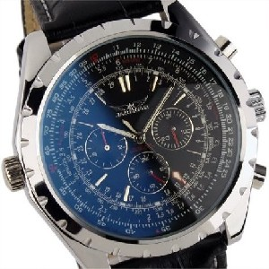 Brand ESS Luxury Gents Men Black Aviator Automatic Mechanical Watch