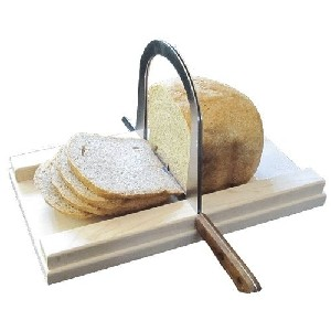 Bread Slicer Elite Brushed Stainless Steel Guide and Maple Wood Bread Board