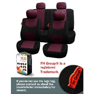 Burgundy and Black Seat Cover Set