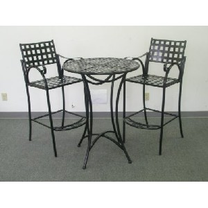 CONTEMPO BAR BISTRO SET - BAR TABLE and 2 CHAIRS with ARMS in a BLACK FINISH - PATIO FURNITURE