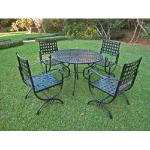 CONTEMPO 5 PIECE IRON DINING SET - TABLE and 4 CHAIRS in a BLACK FINISH - PATIO FURNITURE