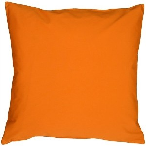 Caravan Cotton Solid Orange Throw Pillow
