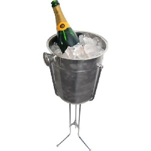 champagne and wine bucket with stand in stainless steel